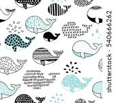 Stock vector cute hand drawn seamless pattern with whale 540666262