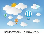 origami balloon and cloud paper ... | Shutterstock .eps vector #540670972