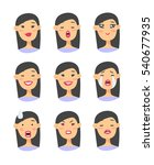 set of asian emoji character.... | Shutterstock .eps vector #540677935