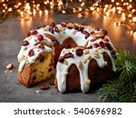 christmas cake with fruits and... | Shutterstock . vector #540696982