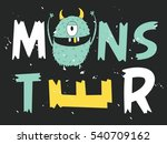 monster face typography design. ... | Shutterstock .eps vector #540709162