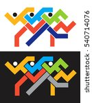 runners race icons.  colorful... | Shutterstock .eps vector #540714076