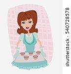 housewife serving cookies | Shutterstock . vector #540728578