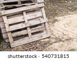 Old Wooden Pallets Are Piled I...