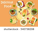 popular meat and fish dishes...   Shutterstock .eps vector #540738208