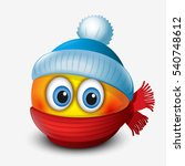 cute winter emoticon  wearing... | Shutterstock .eps vector #540748612