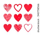 hearts set hand drawing. flat... | Shutterstock .eps vector #540758566