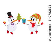 two cute snowman holding a... | Shutterstock .eps vector #540782836