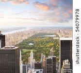 new york manhattan at sunset  ... | Shutterstock . vector #54079978