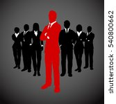 red leader in front of his team ... | Shutterstock .eps vector #540800662