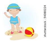 cute little baby girl on the... | Shutterstock .eps vector #54080224