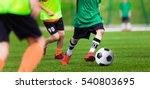 kids playing football soccer... | Shutterstock . vector #540803695