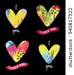 a set of greeting i love you... | Shutterstock .eps vector #540817522