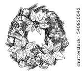 christmas wreath. vector... | Shutterstock .eps vector #540820042