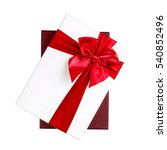 white gift box with red ribbon... | Shutterstock . vector #540852496