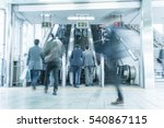 people rush on a escalator... | Shutterstock . vector #540867115