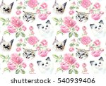 Stock photo seamless pattern with cats and roses watercolor hand drawn illustration 540939406