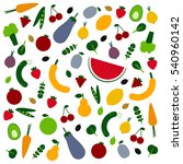 amazing fruits and veggies flat ... | Shutterstock .eps vector #540960142