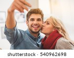 joyful lovers photographing... | Shutterstock . vector #540962698
