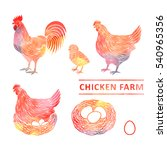 chicken farm set  watercolor.... | Shutterstock .eps vector #540965356