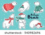 Six Cute Hand Drawn Polar Bear...