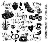 valentines day hand drawn ... | Shutterstock .eps vector #540988156