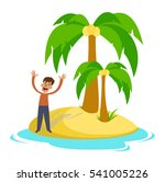 people on a desert island. the... | Shutterstock . vector #541005226