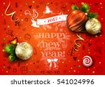 new year vector red poster with ... | Shutterstock .eps vector #541024996