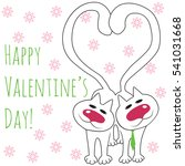 two cats in love. happy... | Shutterstock .eps vector #541031668