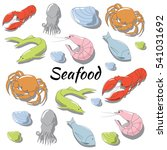 hand drawn seafood set | Shutterstock .eps vector #541031692