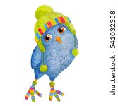 Little Cute Bright Blue Owlet...