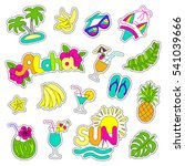 hawaiian style patch set.... | Shutterstock .eps vector #541039666