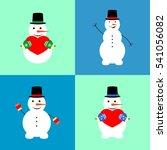 set snowman icon  flat design...