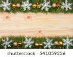 christmas frame made of fir... | Shutterstock . vector #541059226