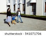 young family with child on a... | Shutterstock . vector #541071706