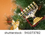 jewish menorah on a decorated... | Shutterstock . vector #541073782
