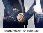 double exposure of handshake... | Shutterstock . vector #541086232