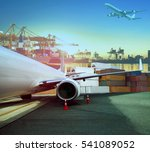 cargo plane and ship loading... | Shutterstock . vector #541089052