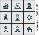 set of 9 editable faith icons....