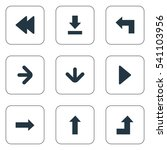 Set Of 9 Simple Cursor Icons. Can Be Found Such Elements As Downwards Pointing, Right Direction, Increasing And Other.