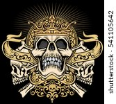 gothic coat of arms with skull  ... | Shutterstock .eps vector #541105642