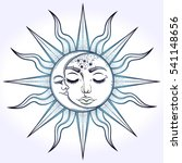 bohemian hand drawn sun and... | Shutterstock .eps vector #541148656