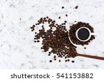 coffee cup and coffee beans on... | Shutterstock . vector #541153882