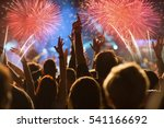 cheering crowd and fireworks   ... | Shutterstock . vector #541166692