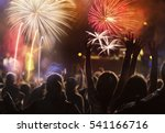 cheering crowd and fireworks   ... | Shutterstock . vector #541166716