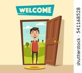 open door. welcome. cartoon... | Shutterstock .eps vector #541168528