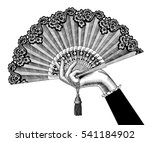 female hand with open fan.... | Shutterstock .eps vector #541184902