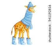 cute cartoon watercolor giraffe ... | Shutterstock . vector #541192816