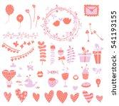 valentine's day vector set.... | Shutterstock .eps vector #541193155