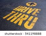 Yellow Drive Thru Sign On Blac...